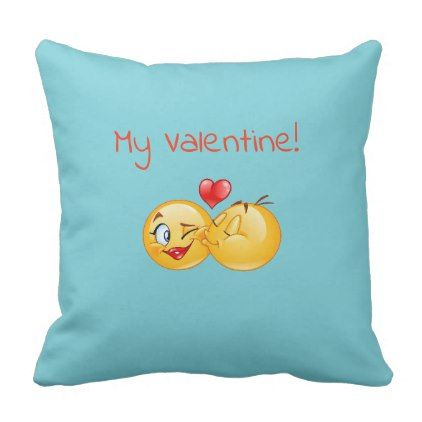Valentine emoji throw pillow - love gifts cyo personalize diy