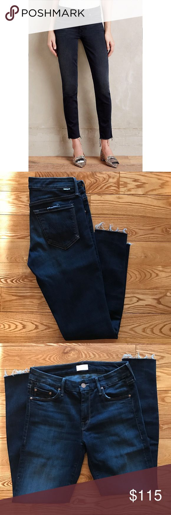 Mother Looker Ankle Fray Jeans New without tags, never worn Mother Jeans in Dark denim, medium rise, size 27. This is a skinny fit with frayed ankles. Comfortable and stylish! Anthropologie Jeans Ankle & Cropped