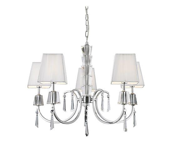 Lampadario a 5 luci in cristallo e tessuto Portico bianco, 96x60 cm