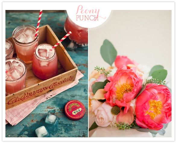 peony cocktailsPeonies Punch, Masons, Events, Pretty Floral, Pretty Peonies, Punch Recipe, Mason Jars, Floral Combos, Drinks Ideas