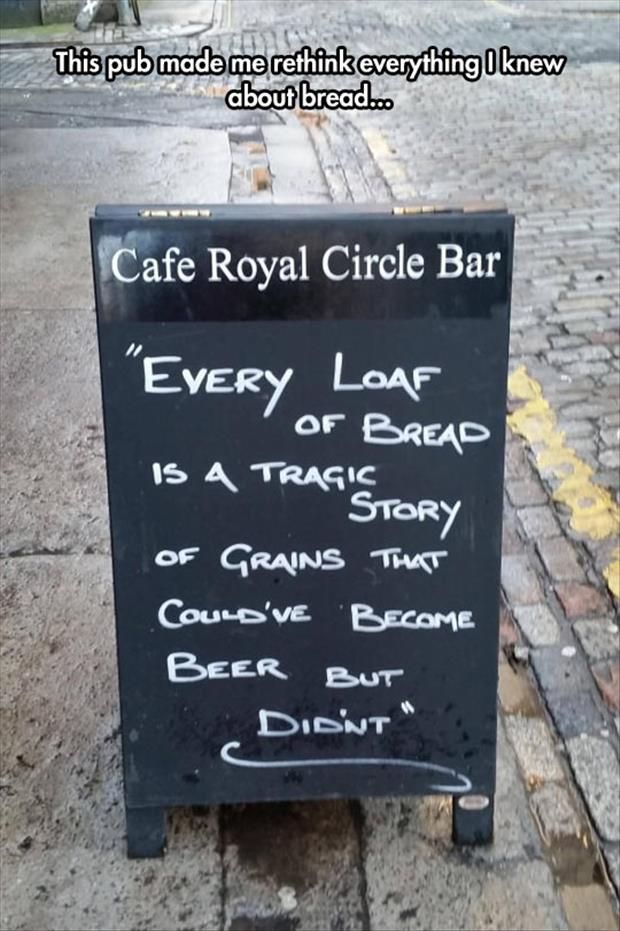 funny outdoor chalk bar sign