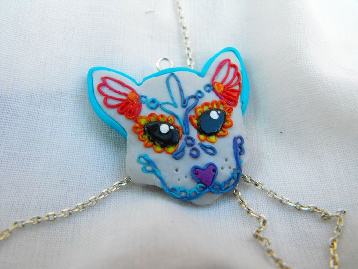 mexican skull cat head pendant