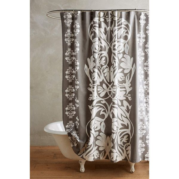 Anthropologie Nobleford Shower Curtain featuring polyvore, home, bed & bath, bath, shower curtains, grey, gray shower curtains, cotton shower curtains, anthropologie, anthropologie shower curtains and grey shower curtains