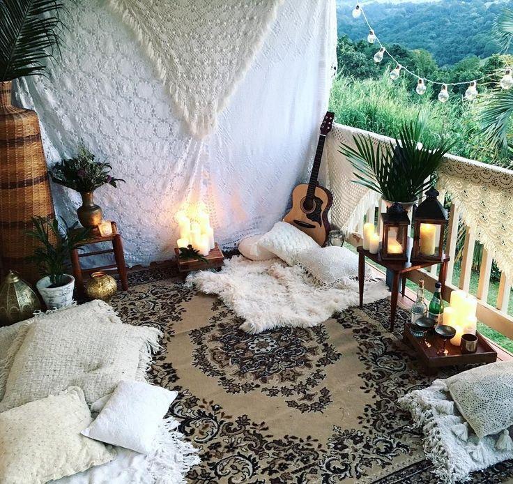Boho date night picnic mountains view Bohemian crochet throw candles cozy date i…