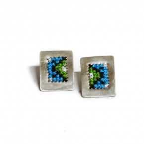 Sterling silver stud earrings Handmade embroidered silver. Traditional patterns. Greek embroidery patterns