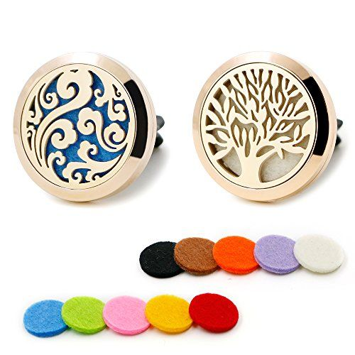 2pcs Rose Gold Car Aromatherapy Essential Oil Diffuser Vent Clip Stainless Steel Locket