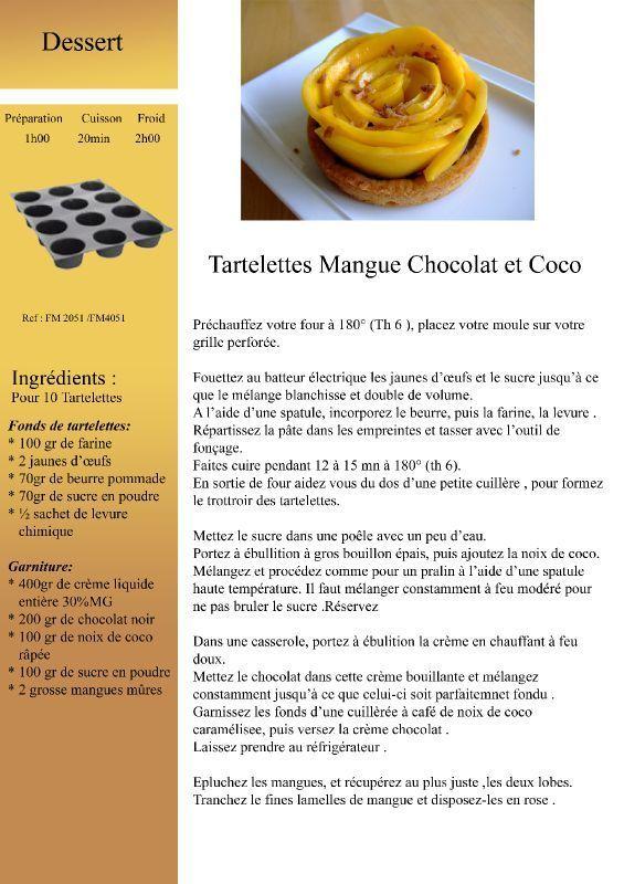 Tartelette mangue chocolat coco