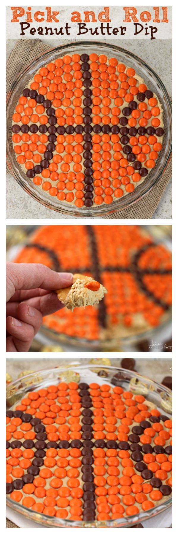 Pick and Roll Peanut Butter Dip ~ Delicious, Creamy Peanut Butter Dip topped with Reese's Pieces! www.titanoutletstore.com