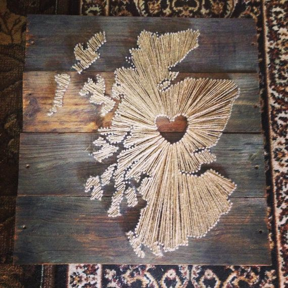 String Art Scotland Map With Love Heart By Karascornershop On Etsy Diy Projects To Try