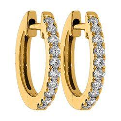 Söta creol i 14 karat guld med blank yta och 20 briljantslipade diamanter  Wesselton SI fcd7a3513510b