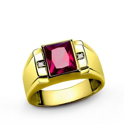 PURE 10K YELLOW GOLD Mens Ruby Ring GENUINE DIAMONDS Fine Jewelry all sz