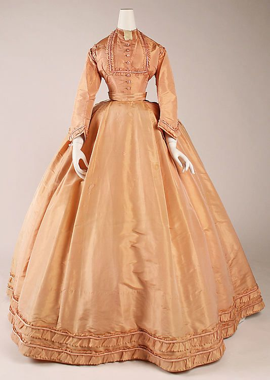 Peach silk dress with day bodice, French, ca. 1864.