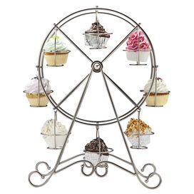 """Nickel-plated cupcake holder with a Ferris wheel silhouette. Holds 8 cupcakes.   Product: Cupcake holderConstruction Material: Nickel plateColor: Matte silverFeatures:  Holds eight cupcakesRemovable holders Dimensions: 18.75"""" H x 13.5"""" W x 7.75"""" DCleaning and Care: Wipe with soft cloth"""