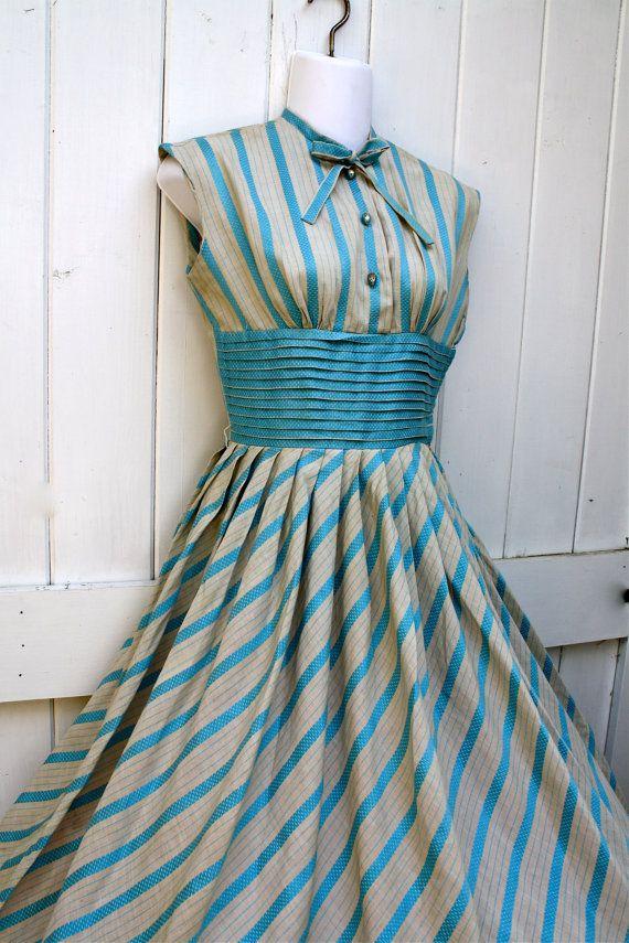 Vintage Dress / 1950's Dress / Aqua Blue Dress / 1950's Full Skirt Dress / Easter Dress. $150.00, via Etsy.