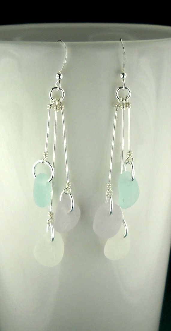 Beautiful, GENUINE Ocean-Tumbled Sea Glass Jewelry - Eco Friendly Sea Glass Beach Earrings In Sterling Silver And Rare Pastel Lavender, Aqua