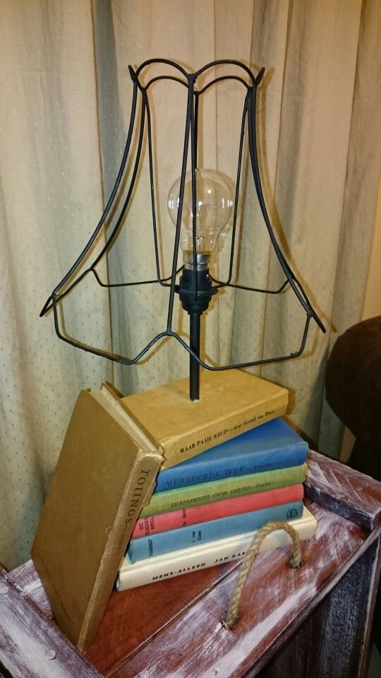 Diy lamp stand with old books