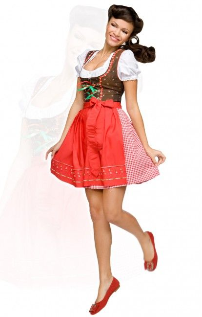 German short mini dirndl dress 3pcs. Pippa red 50cm
