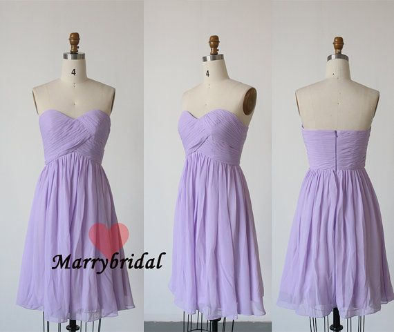 Affordable New Simple Lavender Strapless Chiffon Short
