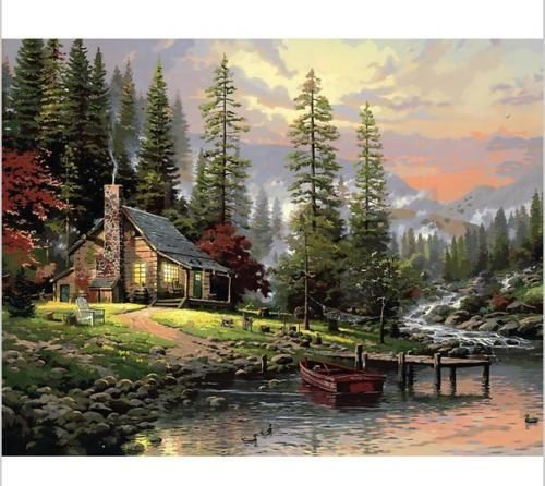 16-20-DIY-Paint-By-Number-Kit-Digital-Oil-Painting-Canvas-Peaceful-House-Woods
