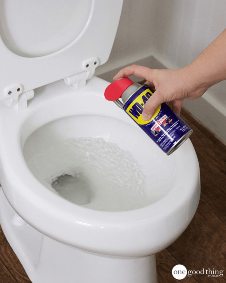 Uses for WD-40  Spray WD-40 on tough limescale stains and mineral deposits in your toilet, and let it sit for a few minutes. Scrub with a toilet brush or a pumice stone, and the stains will dissolve easily!