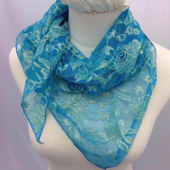 Aqua Blue lace scarf, Gift for wife, Spring Scarf Birthday gift, Boss Gift, Hair scarf, Gift coworker, Gift for Stepmom Mothers Day Gift