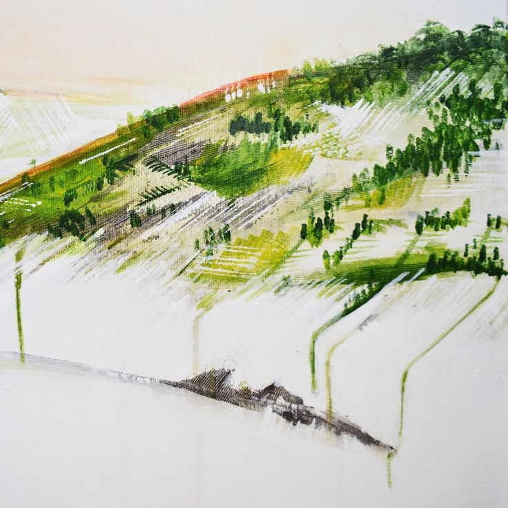 Annie Noa landscape painting details. Hill close-up. Modern minimalistic art. www.instagram.com/theannienoa