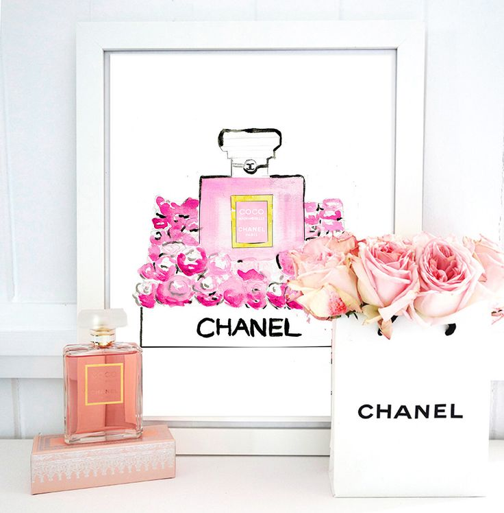 Coco Chanel Mademoiselle Perfume And Roses. Watercolor Perfume Bottle  Artwork. Fashion Illustration. Modern