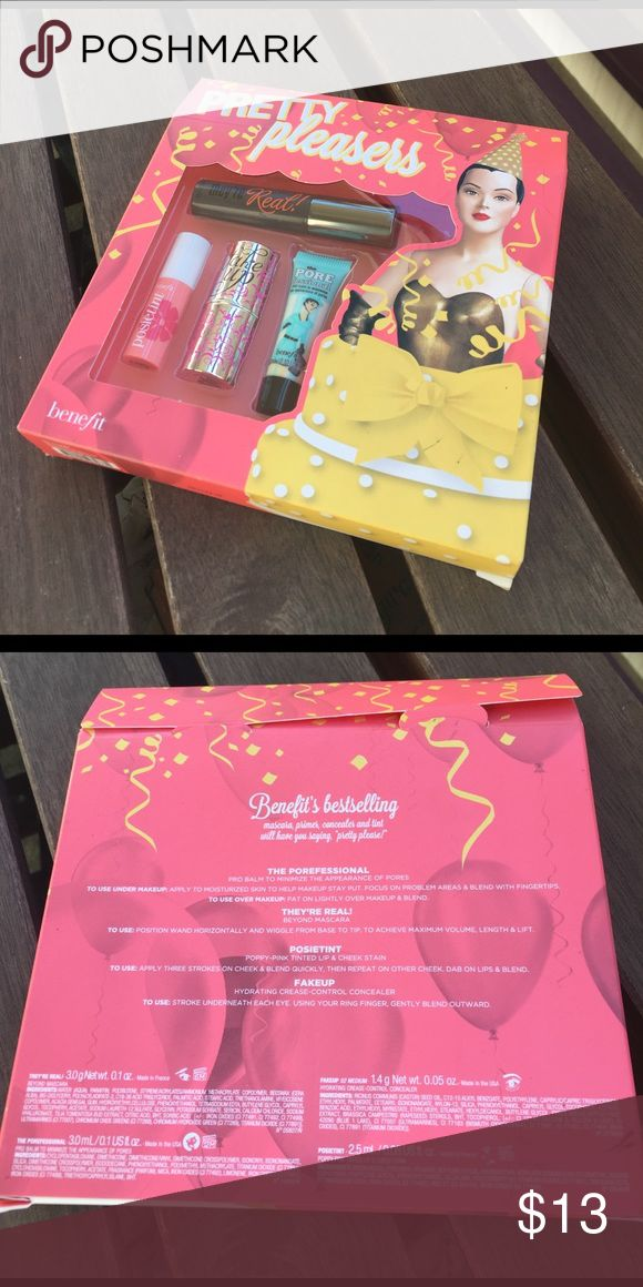 Benefit 'Pretty Pleasers' sample kit Benefit 'Pretty Pleasers' sample kit. Received as a gift, never opened! Includes Posietint, Fake Up, the Porefessional, and They're Real mascara Benefit Makeup Mascara