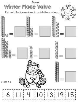 Winter Place Value >> Part of the Kindergarten Common Core Aligned Math Worksheets Packet