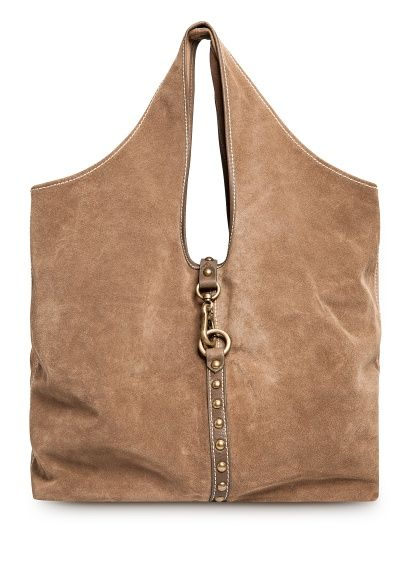 MANGO - TOUCH - Suede hobo bag