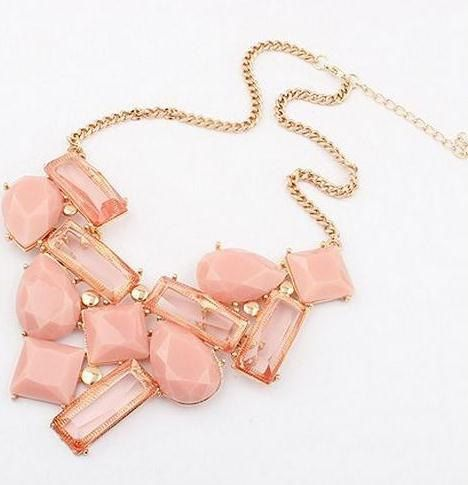 Blush Pink and Gold Bib Necklace by LilyAndEllieShop on Etsy, $18.00
