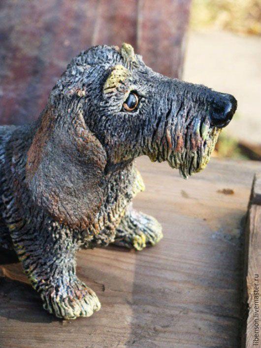 Купить Такса жесткошерстная - серый, такса, собака, Керамика, авторская ручная работа, фигурки животных