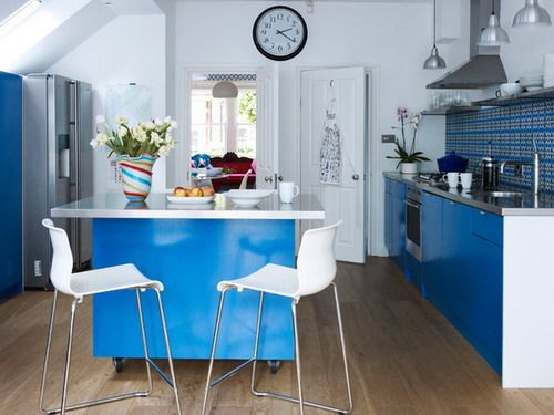 Blue Kitchen Cabinets Small Kitchen Island and Carts Contemporary Kitchen by aegis interior design ltd