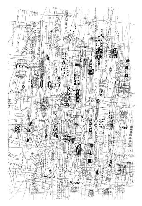 City Life - City Drawing line drawing Archival print of original drawing giclee landscape art  city art  black and white art 12 x 18 inches. By  Sarah Giannobile