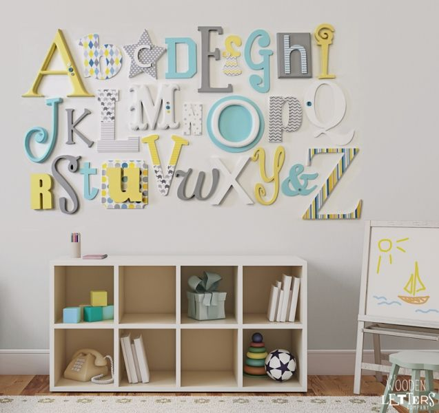 Full A-Z Alphabet Wall Set - Grey, Lemon