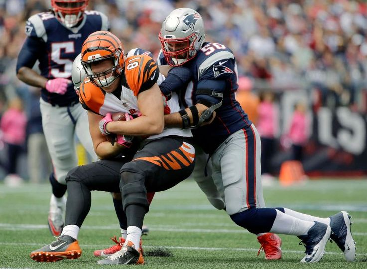 Bengals vs. Patriots:     October 16, 2016  -  35-17, Patriots  -     New England Patriots defensive end Rob Ninkovich (50) tackles Cincinnati Bengals tight end Tyler Kroft (81) after Kroft caught a pass during the first half of an NFL football game, Sunday, Oct. 16, 2016, in Foxborough, Mass.