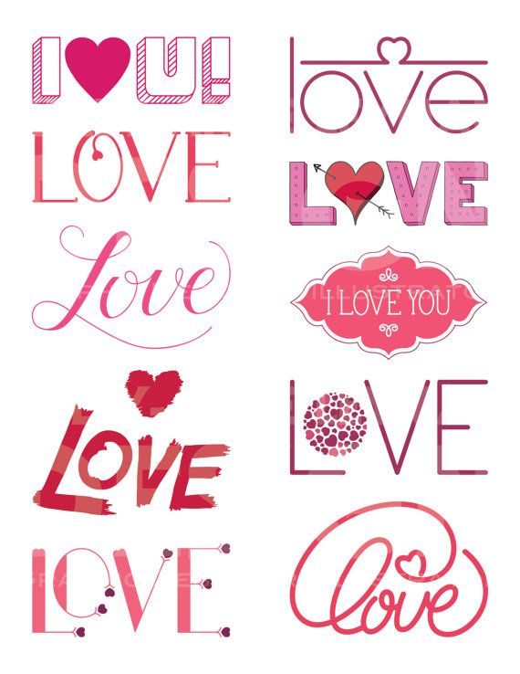 Love Typography Word Clipart, Word Overlays Love Clip Art Set, Text, Lettering, Commercial Use, Digital Download Art, Vector Graphics
