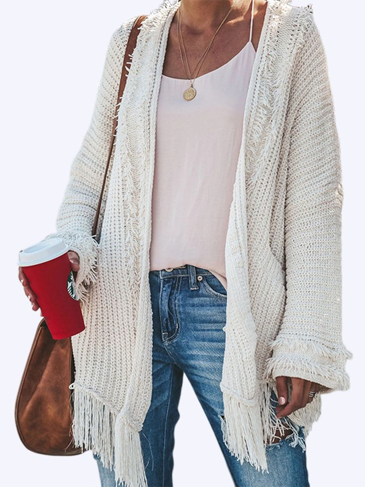 Tassel Knit Loose Irregular Plus Size Cardigan