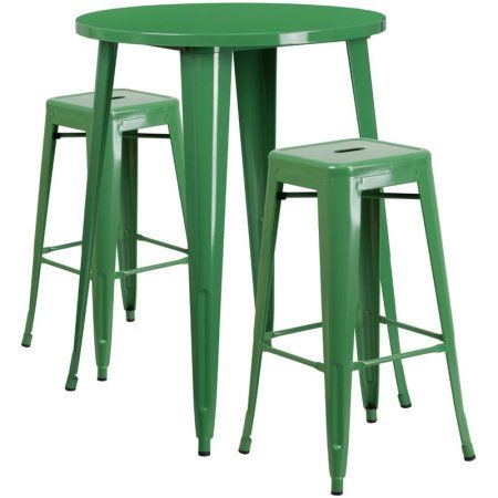 Flash Furniture 30 inch Round Metal Indoor-Outdoor Bar Table Set with 2 Square Seat Backless Barstools, Multiple Colors, Green