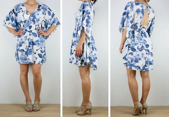 Ladies Kaftan dress short beach boho dress tunic in soft