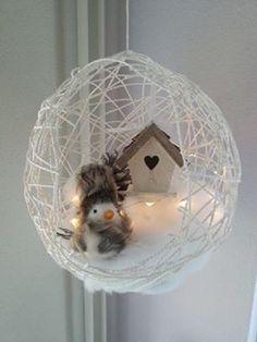 Ballon met verdunde houtlijm insmeren garen omwinden goed laten drogen ballon lekprikken en op vullen.