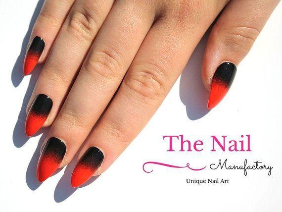 Orange Black False Nails – Halloween Nails Art – Hand Painted False Nails – Ombre Nails – Ombre Nails Round