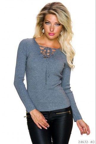 Μονόχρωμο πουλόβερ με rib πλέξη - Γκρι