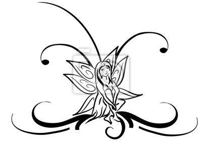 Papier peint fée tatouage tribal