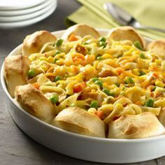 Upside-down Chicken Pot Pie Recipe Main Dishes with biscuit buttermilk flaki refriger, cut up cooked chicken, frozen mixed thawed vegetables,, knorr pasta side chicken, shredded cheddar cheese, milk, water