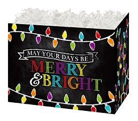 """Large Box Merry and Bright Chalkboard 10.25"""" x 6"""" x 7.5""""-47345"""