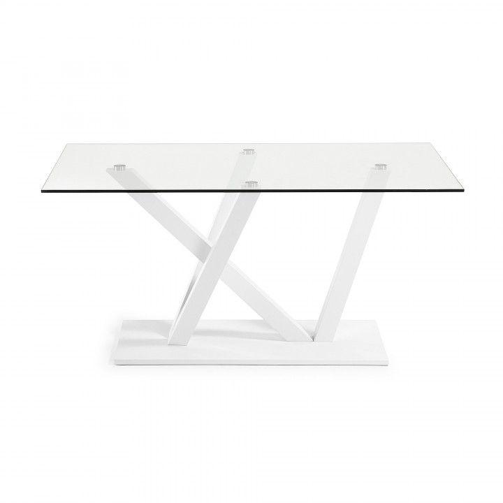 Table avec plateau en verre transparent trempé. Pieds et base en acier peint par pulvérisation.