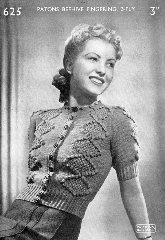 Vintage Ladies Cardigan, Knitting Pattern, 1940/1950 (PDF) Pattern, P&B 625