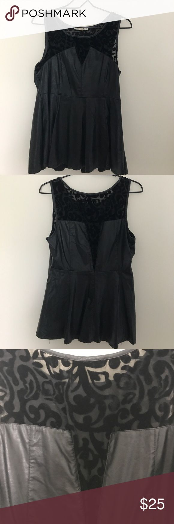 Very J Black Leather Peplum Top Black Leather Peplum Top with Velvet Paisley Details on the Top Very J Tops Blouses