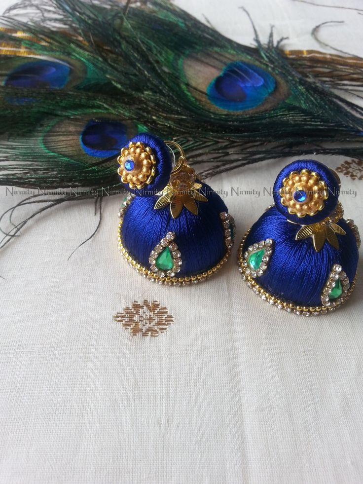 Blue-green Handcrafted Silk Thread jhumka - Clear Rhinestone Studded Jhumkas…
